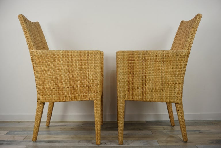 French Design Rattan Wicker Pair of Bridge Armchairs In Excellent Condition For Sale In Tourcoing, FR