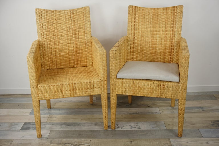20th Century French Design Rattan Wicker Pair of Bridge Armchairs For Sale