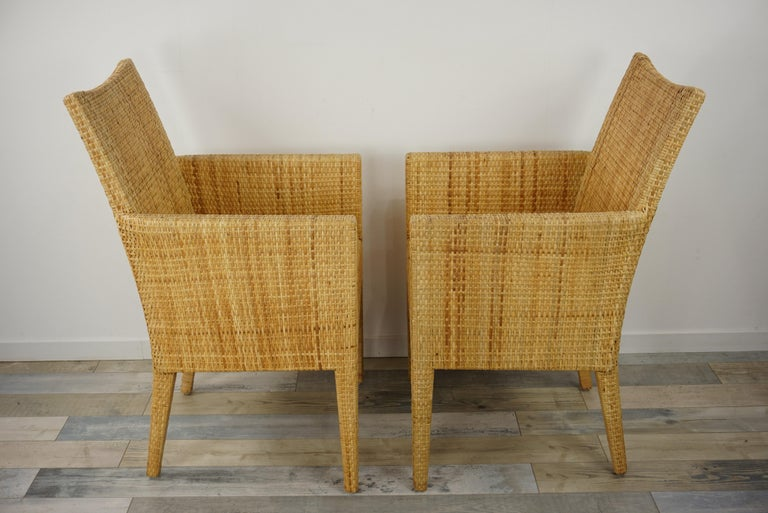 French Design Rattan Wicker Pair of Bridge Armchairs For Sale 1