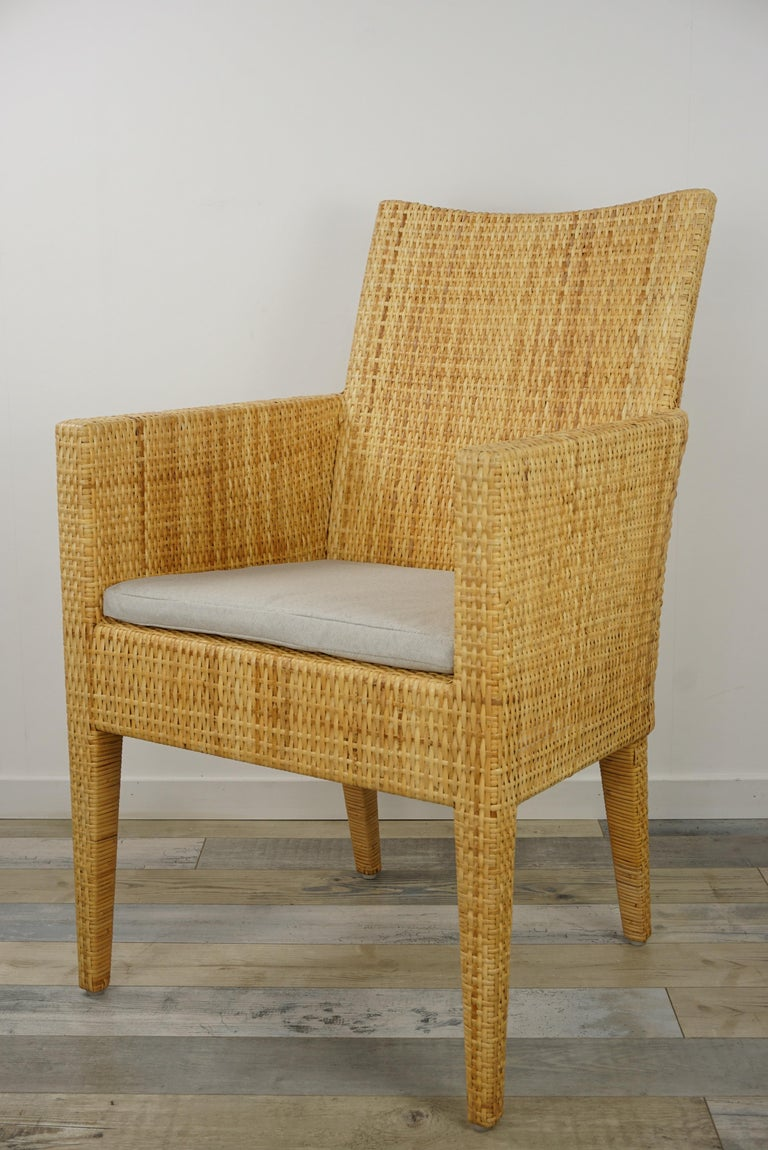 French Design Rattan Wicker Pair of Bridge Armchairs For Sale 2