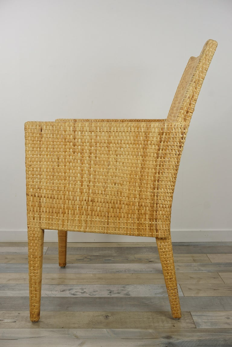 French Design Rattan Wicker Pair of Bridge Armchairs For Sale 3