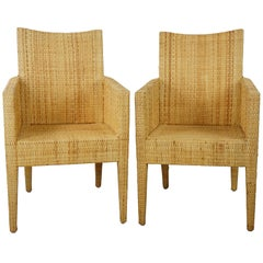 French Design Rattan Wicker Pair of Bridge Armchairs
