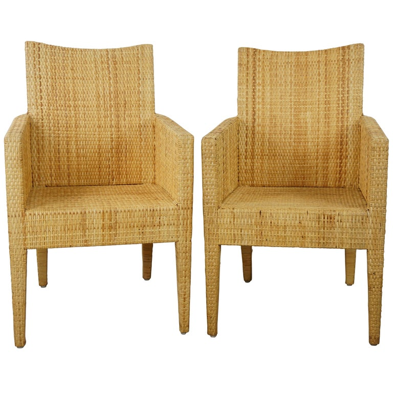 French Design Rattan Wicker Pair of Bridge Armchairs For Sale
