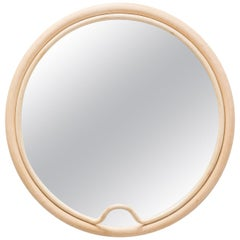 French Design Round Rattan Mirror