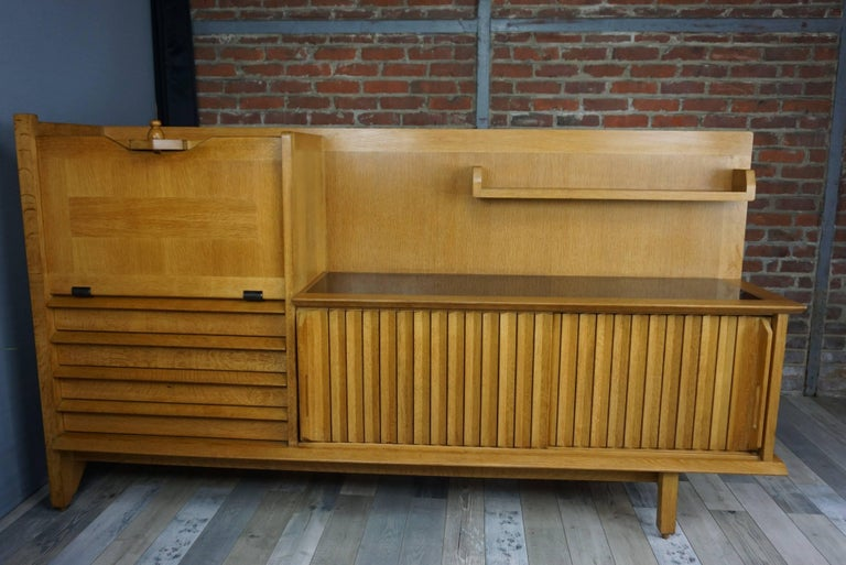 French Design Solid Oak Sideboard by Guillerme et Chambron For Sale 5