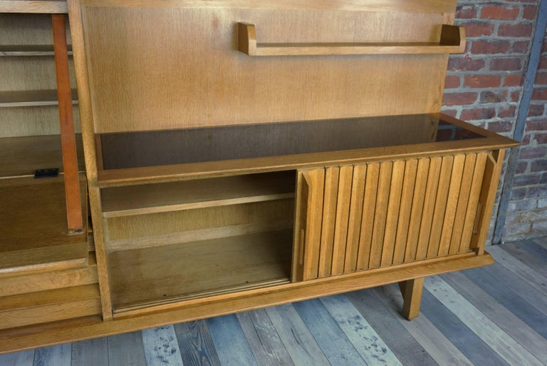 Mid-Century Modern French Design Solid Oak Sideboard by Guillerme et Chambron For Sale