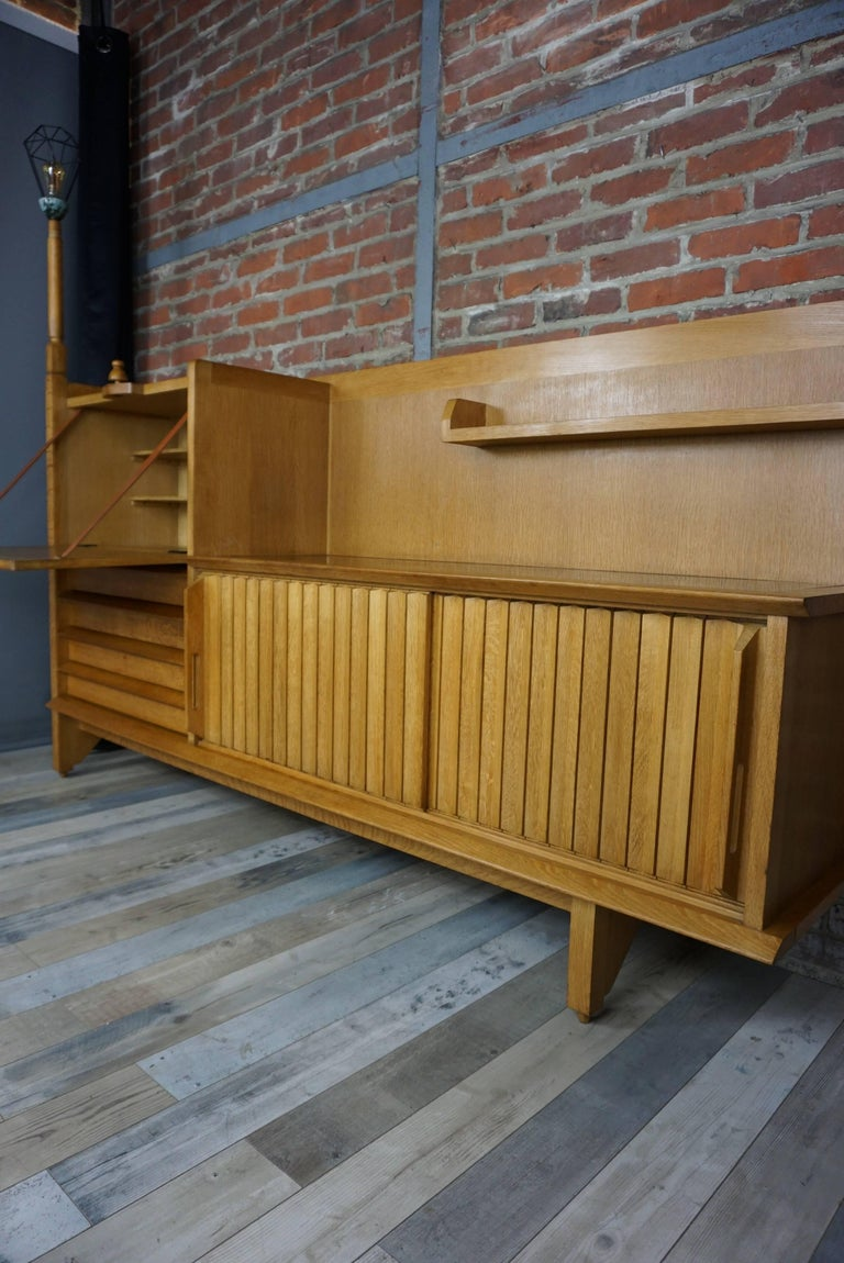 French Design Solid Oak Sideboard by Guillerme et Chambron In Excellent Condition For Sale In TOURCOING, FR