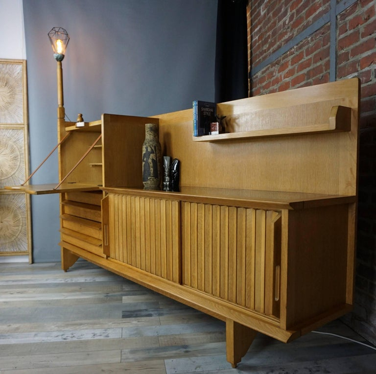 French Design Solid Oak Sideboard by Guillerme et Chambron For Sale 4