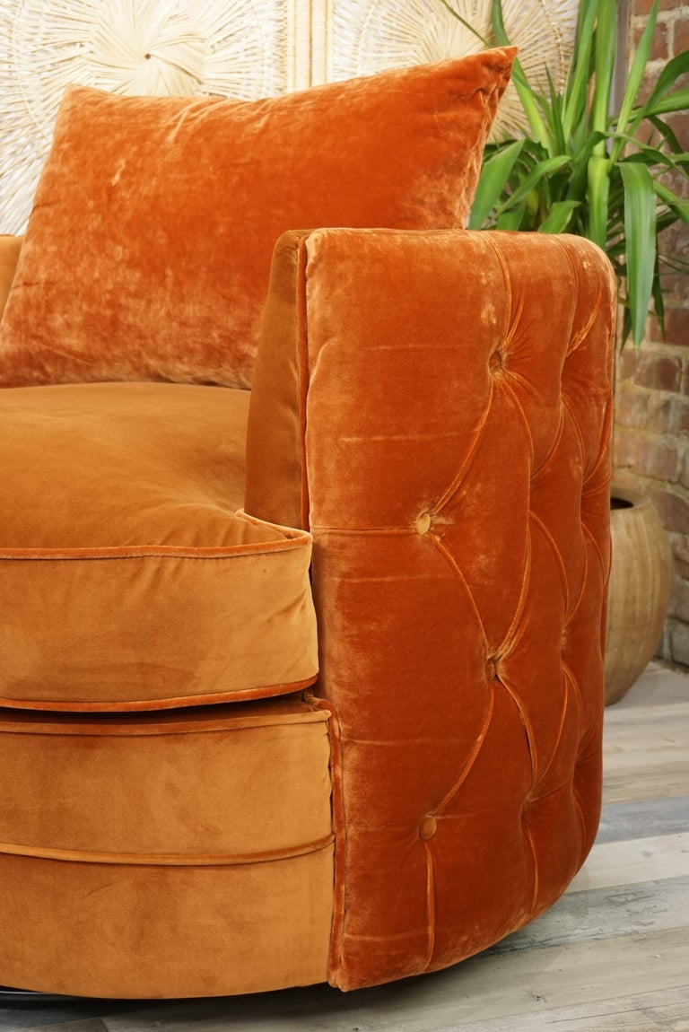 French Design Velvet and Swivel Large Armchair For Sale 5