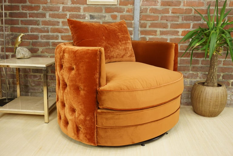 French Design Velvet and Swivel Large Armchair For Sale 6