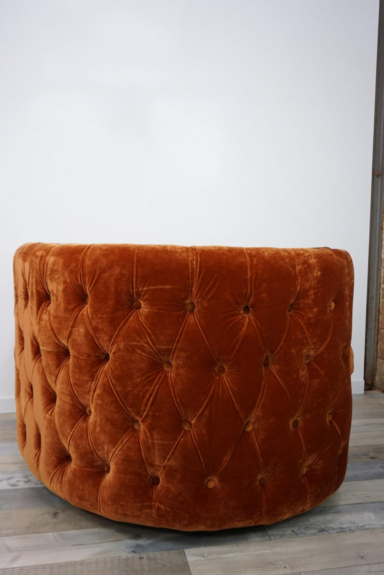 French Design Velvet and Swivel Large Armchair In New Condition For Sale In Halluin, FR