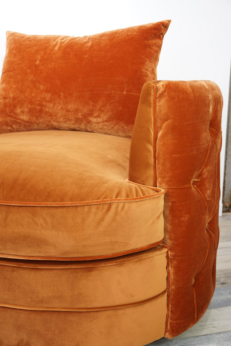 Contemporary French Design Velvet and Swivel Large Armchair For Sale