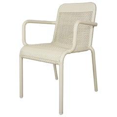 French Design Warm White Braided Resin Armchair