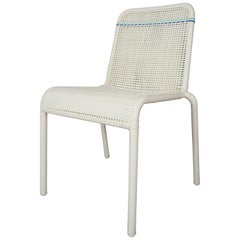 French Design White and Blue Outlined Braided Resin Chair