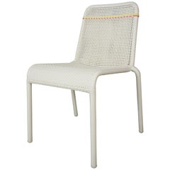 French Design White Yellow and Red Outlined Braided Resin Chair