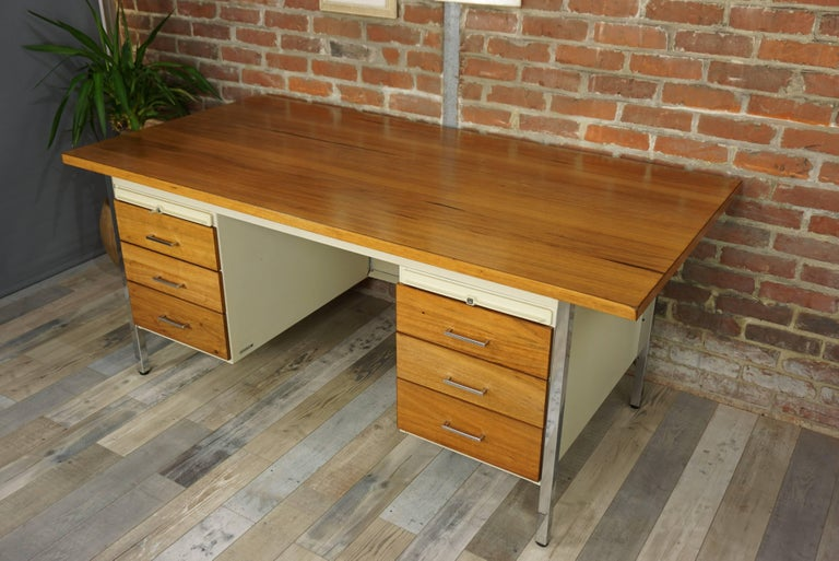 Industrial French Design Wooden and Metal Rare Executive Desk from the 1950s by Strafor For Sale