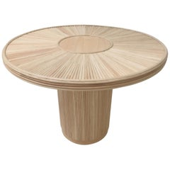 French Design Wooden and Pencil Reed Rattan Round Pedestal Dining Table