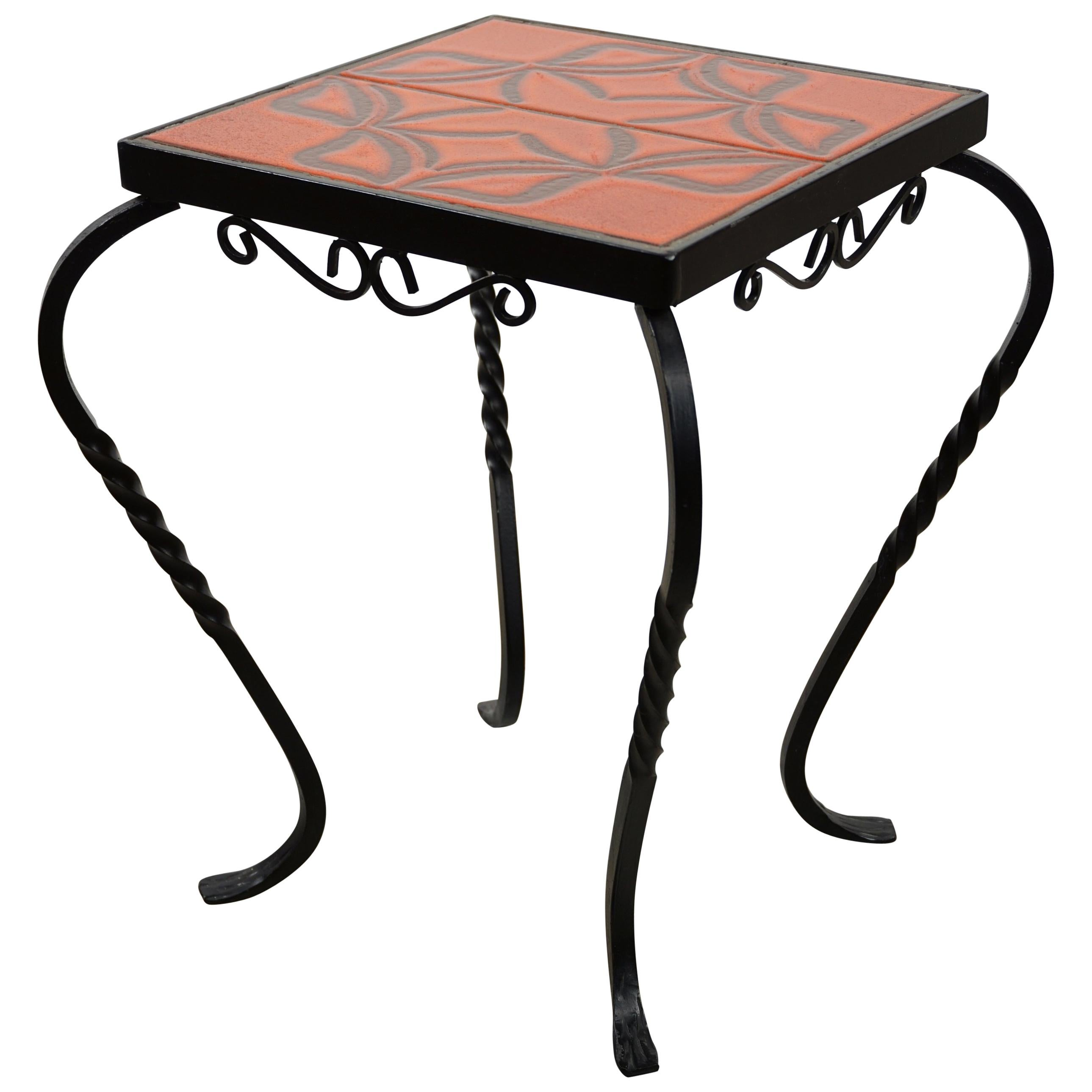 Delicieux French Design Wrought Iron And Ceramic Side Table