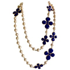 French Designer Blue Taupe Pearl Statement Necklace
