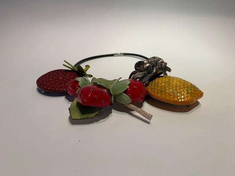 French Designer Fruit Statement Necklace  2