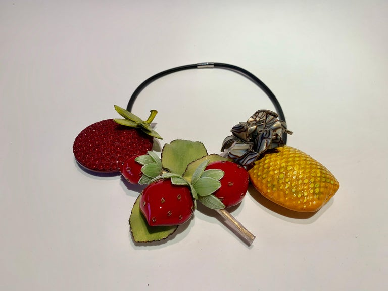 French Designer Fruit Statement Necklace  3