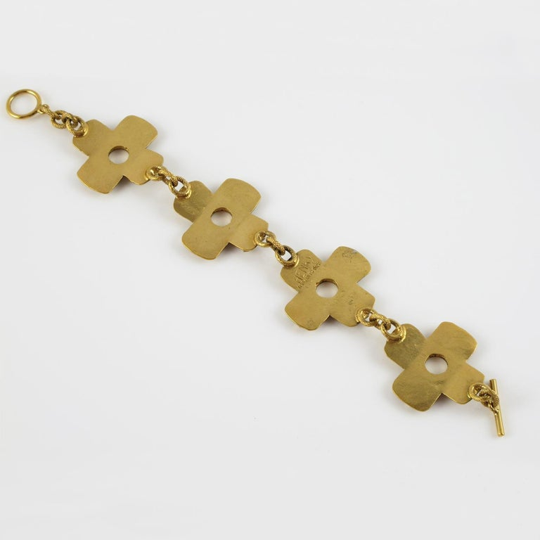 French Designer Henry Perichon Geometric Gilt Bronze Modernist Link Bracelet In Excellent Condition For Sale In Atlanta, GA