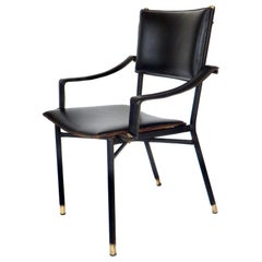 French Designer Jacques Quinet Leather Desk Chair Brass Hardware