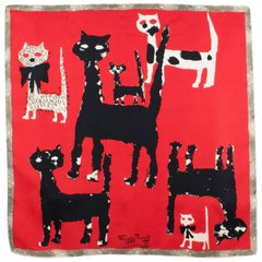 French Designer Maggy Rouff Silk Scarf 1960s Black and Red Cats Print