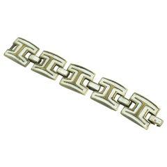 French Designer St Luc Modernist Bronze and White Enamel Link Bracelet