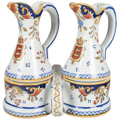 French Desvres Faience Cruet Set