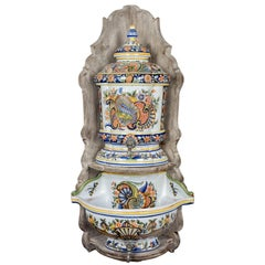 French Desvres Faience Lavabo