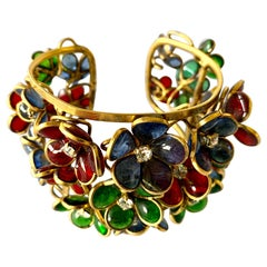 "French Diamante Blue, Green, and Red Flower ""pate de verre"" Cuff Bracelet"