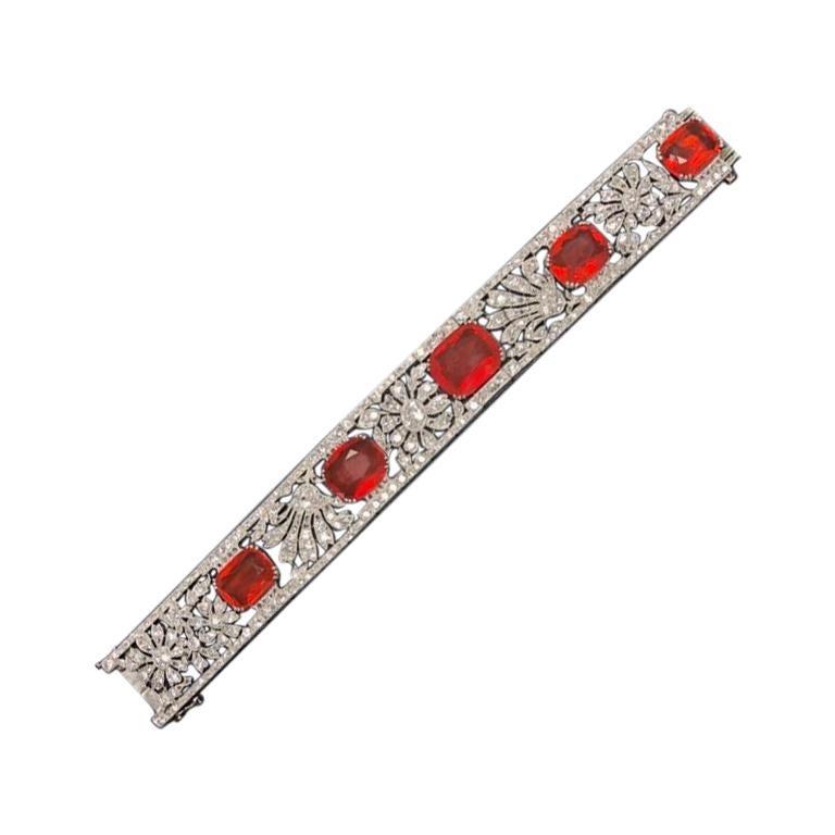 French Diamond and Opal Platinum Bracelet