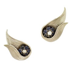 French Diamond and Sapphire Clip-On Earrings