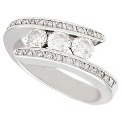 French Diamond and White Gold Twist Ring