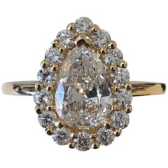 French Diamond Cluster Ring with a 2.01 Carat Pear Shape Diamond Certified GIA