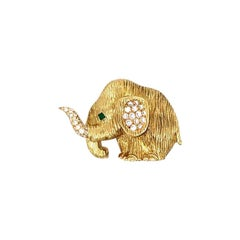 French Diamond Emerald Gold Elephant Pin-Brooch