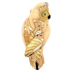 French Diamond Emerald Gold Owl Brooch