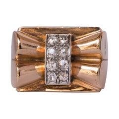 French Diamond Gold Bow Tank Ring