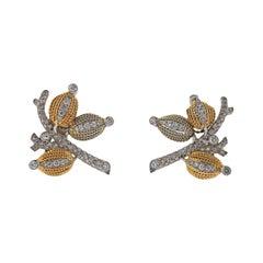 French Diamond Gold Earrings