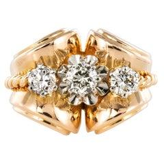 French Diamond Gold Tank Ring