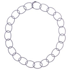 French Diamond Oval Link Necklace