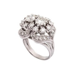 French Diamond Platinum Ring