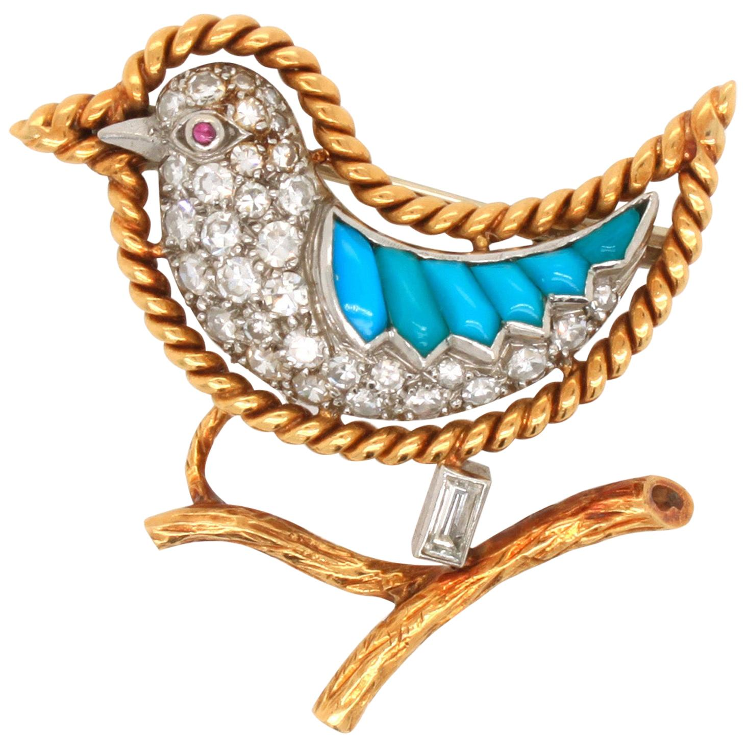 French Diamond, Ruby and Turquoise Brooch