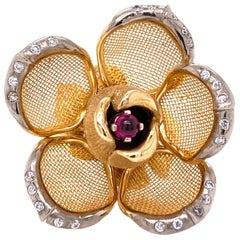 French Diamond Ruby Flower Ring 18 Karat Yellow Gold Petals Open and Close