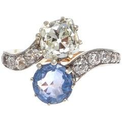 French Diamond Sapphire Gold Moi Et Toi Ring