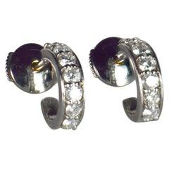 French Diamond White Gold Huggie Hoop Earrings