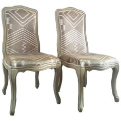 France Pair Dining Chairs Andrew Martin Tribal Fabric Upholstered Louis XV Style