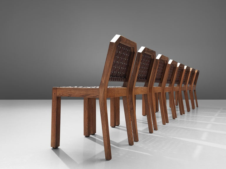 Mid-Century Modern French Set of Eight Dining Chairs in Oak and Woven Leather For Sale