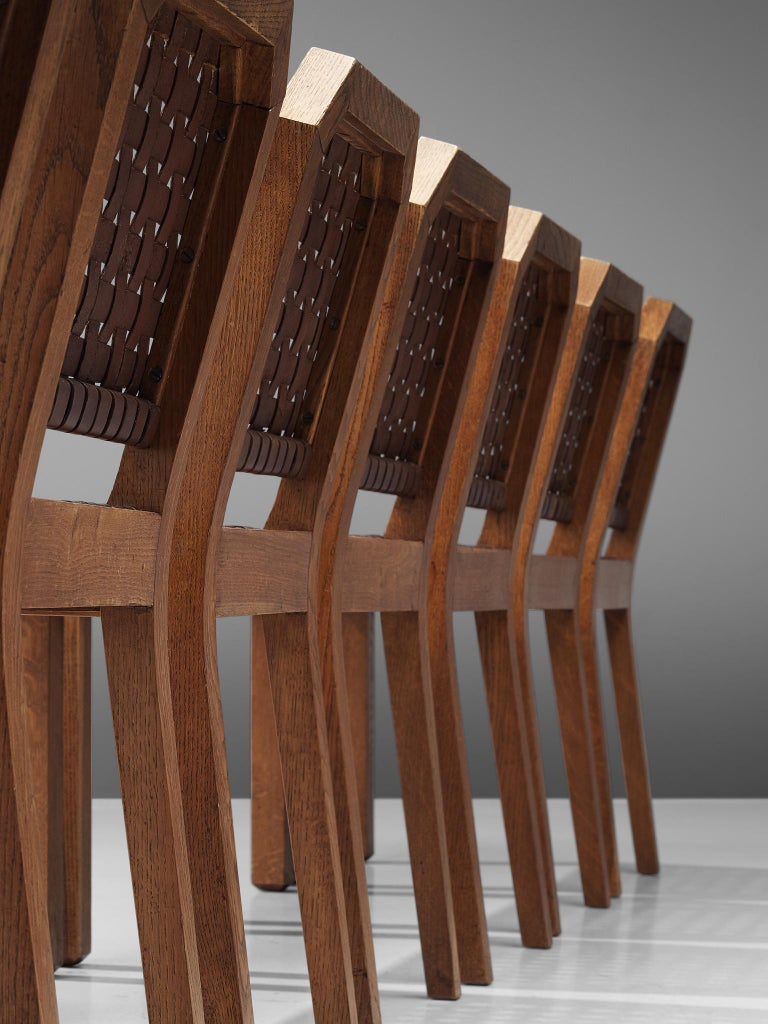 French Set of Eight Dining Chairs in Oak and Woven Leather In Good Condition For Sale In Waalwijk, NL